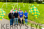 front l-r Tom Kelleher, Pat Brosnan, John and Noelle Kellehr, back l-r Mike and Colm Kelleher and Kieran O'Shea who came up with idea of building entire Kerry Football Squad from a plywood in Kilgobnet in support of Green and Gold team in All Ireland Final.
