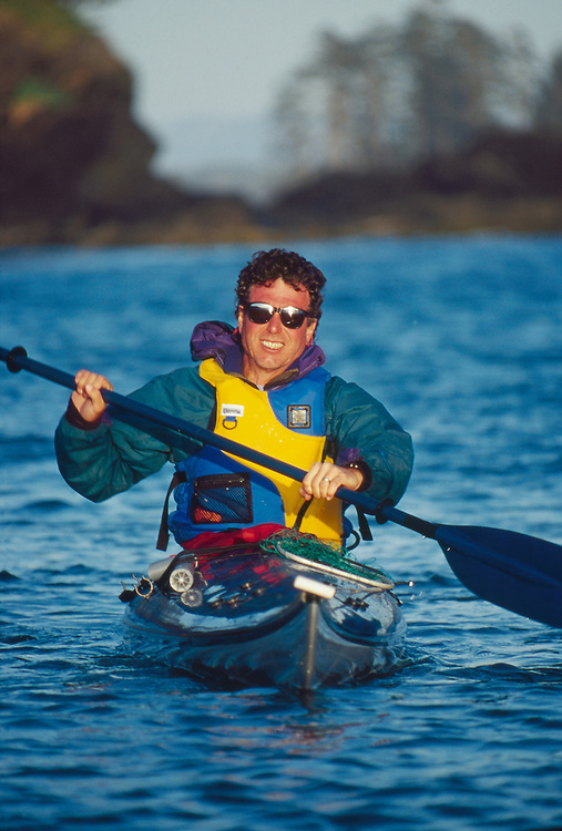Sea Kayaker, bow on, Barkley Sound, British Columbia, Canada, Elliot Marks,