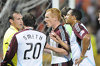 Colorado Rapids players argues with the referee Terry Vaughn from a penalty kick call.  DC United tied The Colorado Rapids 1-1, at RFK Stadium, Saturday  May 14, 2011.