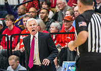WASHINGTON, DC - JANUARY 29: Bob McKillop head coach of Davidson clls out to the referee during a game between Davidson and George Wshington at Charles E Smith Center on January 29, 2020 in Washington, DC.
