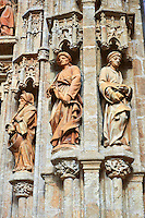 Statues of The Gothic Puerta de Campanilla entrance door of the Cathedral of Seville, Spain