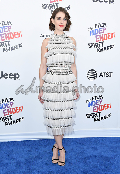 03 March 2018 - Santa Monica, California - Alison Brie. 2018 Film Independent Spirit Awards -Arrivals, held at the Santa Monica Pier. Photo Credit: Birdie Thompson/AdMedia