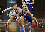 SIOUX FALLS MARCH 22:  Blair Taylor #14 of Lubbock Christian chases a loose ball trailed by Florida Southern player Camille Giardina #22 during their quarterfinal game at the NCAA Women's Division II Elite 8 Tournament at the Sanford Pentagon in Sioux Falls, S.D. (Photo by Dick Carlson/Inertia)
