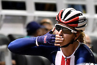 CALI – COLOMBIA – 18-02-2017: Sara Hammer de Estados Unidos, gana medalla de oro en la prueba de Scratch Damas, en el Velodromo Alcides Nieto Patiño, sede de la III Valida de la Copa Mundo UCI de Pista de Cali 2017. / Sara Hammer from Estados Unidos, win a gold medal in the Women´s Scratch Race at the Alcides Nieto Patiño Velodrome, home of the III Valid of the World Cup UCI de Cali Track 2017. Photo: VizzorImage / Luis Ramirez / Staff.