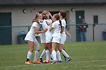 Loyalsock High School team mates celebrate a goal.