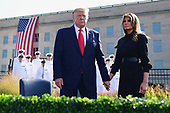 United States President Donald J. Trump and first lady Melania Trump hold hands in front of the  Pentagon during the 18th anniversary commemoration ceremony of the September 11 terrorist attacks, in Arlington, Virginia on Wednesday, September 11, 2019. <br /> Credit: Kevin Dietsch / Pool via CNP