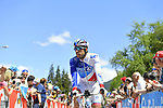 Thibaut Pinot (FRA) FDJ arrives at sign on before the start of Stage 18 of the 100th edition of the Giro d'Italia 2017, running 137km from Moena to Ortisei/St. Ulrich, Italy. 25th May 2017.<br /> Picture: LaPresse/Fabio Ferrari | Cyclefile<br /> <br /> <br /> All photos usage must carry mandatory copyright credit (&copy; Cyclefile | LaPresse/Fabio Ferrari)