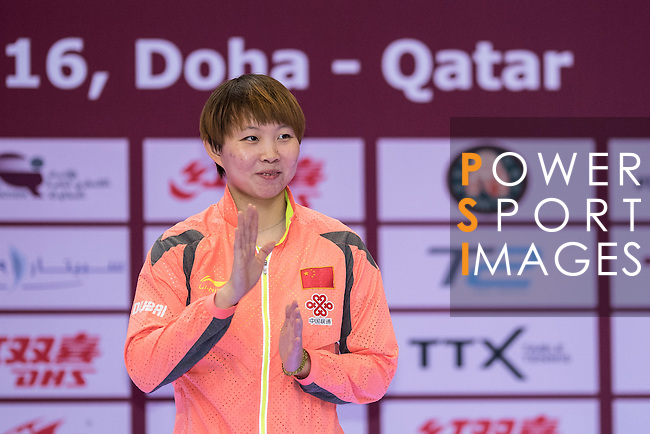Yuling Zhu during the prize ceremony of Women's Singles Final match during the Seamaster Qatar 2016 ITTF World Tour Grand Finals at the Ali Bin Hamad Al Attiya Arena on 11 December 2016, in Doha, Qatar. Photo by Victor Fraile / Power Sport Images