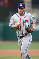 Aaron Cunningham (3) of the Round Rock Express heads to the dugout after an inning during the Pacific Coast League game against the Oklahoma City RedHawks at Chickashaw Bricktown Ballpark on June 14, 2013 in Oklahoma City ,Oklahoma.  (William Purnell/Four Seam Images)