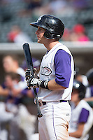 Michael Suiter (1) of the Winston-Salem Dash waits for his turn to bat during the game against the Salem Red Sox at BB&T Ballpark on May 31, 2015 in Winston-Salem, North Carolina.  The Red Sox defeated the Dash 6-5.  (Brian Westerholt/Four Seam Images)