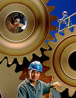 collage of industrial workers and gears. welder, construction workers, hardhats.