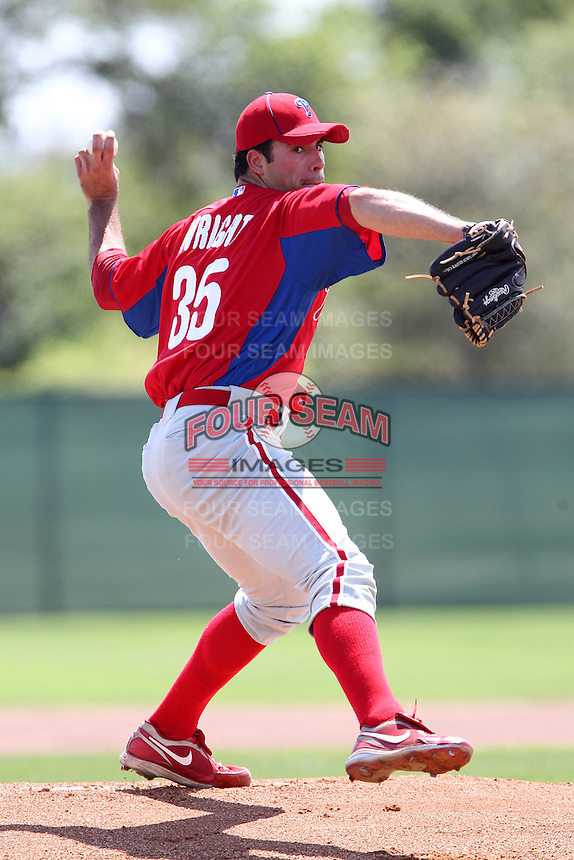 Philadelphia Phillies Austin Wright #35 during a spring training game against the Detroit Tigers at the Carpenter Complex on March 20, 2012 in Clearwater, Florida.  (Mike Janes/Four Seam Images)