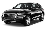 2018 Audi Q5 Design 5 Door SUV angular front stock photos of front three quarter view