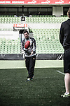 Warrior Football challenged four Liverpool FC players Glen Johnson, Raheem Sterling, Brad Jones and Philippe Coutinho to try their hand at Aussie Rules while in Melbourne for the club's Australian leg of its 2013 pre-season tour. In a 'clash of the codes' style match-up, AFL legends Luke Darcy and Cameron Ling ran the LFC players through a series of AFL skills, and were challenged to perform football skills in return. Liverpool legends Robbie Fowler and Ian Rush were also involved.  Photo by Andy Jones / The Power of Sport Images for Warrior Football.