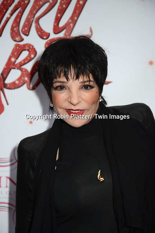 "Liza Minnelli arrives at the ""Kinky Boots"" Broadway Opening on April 4, 2013 at The Al Hirschfeld Theatre in New York City. Harvey Fierstein wrote is the Book Writer and Cnydi Lauper is the Composer."