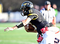 Baltimore, MD - OCT 14, 2017: Towson Tigers quarterback Ryan Stover (16) is tackled during game between Towson and Richmond at Johnny Unitas Stadium in Baltimore, MD. The Spiders defeated the Tigers 23-3. (Photo by Phil Peters/Media Images International)