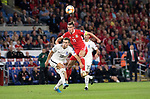 Cardiff - UK - 6th September :<br />Wales v Azerbaijan European Championship 2020 qualifier at Cardiff City Stadium.<br />Wales Captain Gareth Bale rises above the Azerbaijan defence in the first half.<br /><br />Editorial use only