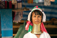 There are many myths associated with why Kayan women began to wear the neck rings. Modern women, when asked, recognize the various stories but simply say that it is a part of their cultural identity. In the late 1980s and early 1990s many Kayan tribes fled to the Thailand border area to escape war and genocide in Myanmar (Burma). They live with an uncertain legal status as refugees and recently tourist villages have appeared displaying Kayan Lahwi (Padaung) women with brass neck coils for tourist dollars.