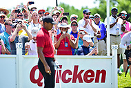 Bethesda, MD - July 1, 2018: Fans pull out their cell phones to get a shot of Tiger Woods during final round of professional play at the Quicken Loans National Tournament at TPC Potomac at Avenel Farm in Bethesda, MD.  (Photo by Phillip Peters/Media Images International)