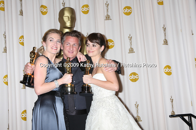 Kate Winslet, Sean Penn, and Penelope Cruz  in the 81st Academy Awards Press Room at the Kodak Theater in Los Angeles, CA  on.February 22, 2009.©2009 Kathy Hutchins / Hutchins Photo...                .