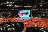 St. Paul, MN - August 31, 2008 -- The podium at the 2008 Republican National Convention in St. Paul, Minnesota on Sunday, August 31, 2008.  This view is from the concourse behind the center camera platfor..Ron Sachs / CNP