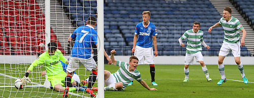 21.05.2015.  Glasgow, Scotland. Little Big Shot Scottish Youth Cup Final. Celtic versus Rangers.  Sam Wardrop  scored the opening goal