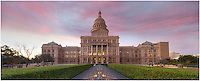 On a peaceful morning, this panorama photograph of the state capitol of Texas shows the view looking south. It is comprised of several images stitched together to show the wide angle view of the grounds.