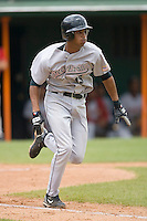 Ebert Rosario (43) of the Greeneville Astros hustles down the first base line at Bowen Field in Bluefield, WV, Sunday July 6, 2008. (Photo by Brian Westerholt / Four Seam Images)