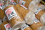 Close-up of packaged rice crackers in Izushi Japan