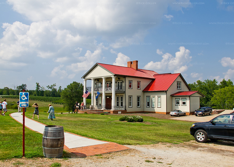 The tasting room and restaurant at Rosemont Vineyards and Winery are located in this facility, recently constructed in the style of a plantation house.