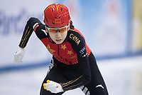 1st February 2019, Dresden, Saxony, Germany; World Short Track Speed Skating; 1000 meters women in the EnergieVerbund Arena. Yize Zang from China on the track.
