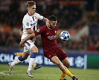 Football Soccer: UEFA Champions League  AS Roma vs PFC CSKA Mosca Stadio Olimpico Rome, Italy, October 23, 2018. <br /> Roma's Kostas Manolas (r) in action with CSKA Mosca's Arnor Sigurdsson (l) during the Uefa Champions League football soccer match between AS Roma and PFC CSKA Mosca at Rome's Olympic stadium, October 23, 2018.<br /> UPDATE IMAGES PRESS/Isabella Bonotto