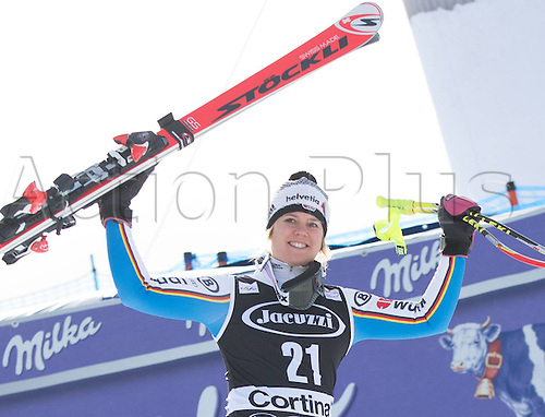 24.01.2016. Cortina d Ampezzo, Italy. FIS World Cup Womens Super G Downhill. 3rd placed Viktoria Rebensburg of Germany on podium during the awards ceremony