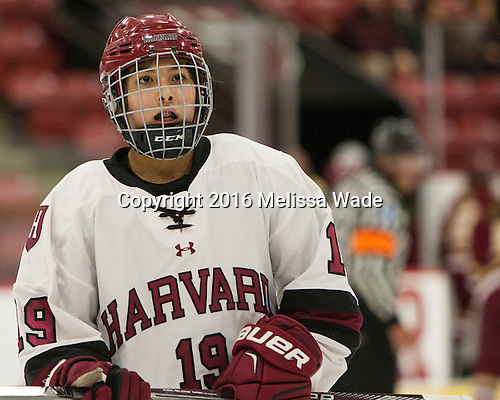 Miye D'Oench (Harvard - 19) - The visiting Boston College Eagles defeated the Harvard University Crimson 2-0 on Tuesday, January 19, 2016, at Bright-Landry Hockey Center in Boston, Massachusetts.