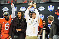 Charlotte, NC - DEC 2, 2017: Clemson Tigers head coach Dabo Swinney holds up the trophy after winning the ACC Championship game over Miami 38-3 at Bank of America Stadium Charlotte, North Carolina. (Photo by Phil Peters/Media Images International)