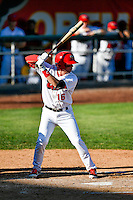 Connor Justus (16) of the Orem Owlz at bat against the Grand Junction Rockies in Pioneer League action at Home of the Owlz on July 6, 2016 in Orem, Utah. The Owlz defeated the Rockies 9-1 in Game 1 of the double header.  (Stephen Smith/Four Seam Images)
