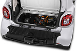 Car stock 2018 Smart fortwo prime coupe 3 Door micro car engine high angle detail view