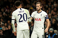 726th November 2019; Tottenham Hotspur Stadium, London, England; UEFA Champions League Football, Tottenham Hotspur versus Olympiacos; Harry Kane of Tottenham Hotspur celebrates his goal with Dele Alli for 4-2 in the 77th minute - Editorial Use