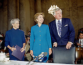 "Washington, DC - (FILE) -- United States Senator Edward M. ""Ted"" Kennedy (Democrat of Massachusetts), right, and U.S. Senator Nancy Landon Kassebaum (Left), welcome first lady Hillary Rodham Clinton, center, to testify before the U.S. Senate Education and Labor Committee in Washington, D.C. on September 29, 1993.  Clinton was appearing to testify in favor of health care reform..Credit: Ron Sachs / CNP"