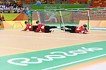 (L-R) Akiko Adachi, Rie Urata, Eiko Kakehata (JPN), <br /> SEPTEMBER 14, 2016 - Goalball : <br /> Quarter Final match between China 5-3 Japan <br /> at Future Arena<br /> during the Rio 2016 Paralympic Games in Rio de Janeiro, Brazil.<br /> (Photo by AFLO SPORT)