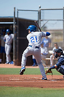 AZL Royals third baseman Emmanuel Rivera (21) at bat in front of catcher Rainier Aguilar (8) during an Arizona League game against the AZL Padres 1 at Peoria Sports Complex on July 4, 2018 in Peoria, Arizona. The AZL Royals defeated the AZL Padres 1 5-4. (Zachary Lucy/Four Seam Images)