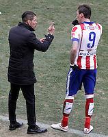 Atletico de Madrid's coach Diego Pablo Cholo Simeone (l) with Mario Mandzukic during La Liga match.February 7,2015. (ALTERPHOTOS/Acero) /NORTEphoto.com