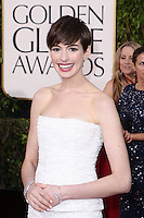 BEVERLY HILLS, CA - JANUARY 13: Anne Hathaway at the 70th Annual Golden Globe Awards at the Beverly Hills Hilton Hotel in Beverly Hills, California. January 13, 2013. Credit MediaPunch Inc. /NortePhoto