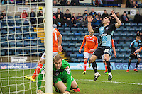 Matthew Bloomfield of Wycombe Wanderers (10) shows his frustration during the Sky Bet League 2 match between Wycombe Wanderers and Luton Town at Adams Park, High Wycombe, England on 6 February 2016. Photo by Claudia Nako.