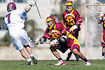 Los Angeles, CA 02/20/10 - Alec Paul (LMU # 7) and Matt Williams (USC # 22) in action during the USC-Loyola Marymount University MCLA/SLC divisional game at Leavey Field (LMU).  LMU defeated USC 10-7.