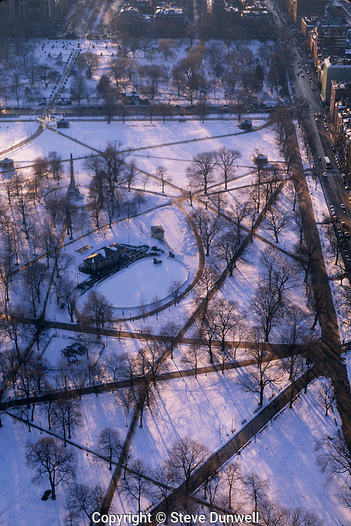 Aerial winter Boston Common, Boston, MA with Frog Pond