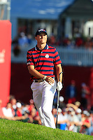Jordan Spieth (Team USA) on the 9th during Saturday afternoon Fourball at the Ryder Cup, Hazeltine National Golf Club, Chaska, Minnesota, USA.  01/10/2016<br /> Picture: Golffile | Fran Caffrey<br /> <br /> <br /> All photo usage must carry mandatory copyright credit (&copy; Golffile | Fran Caffrey)