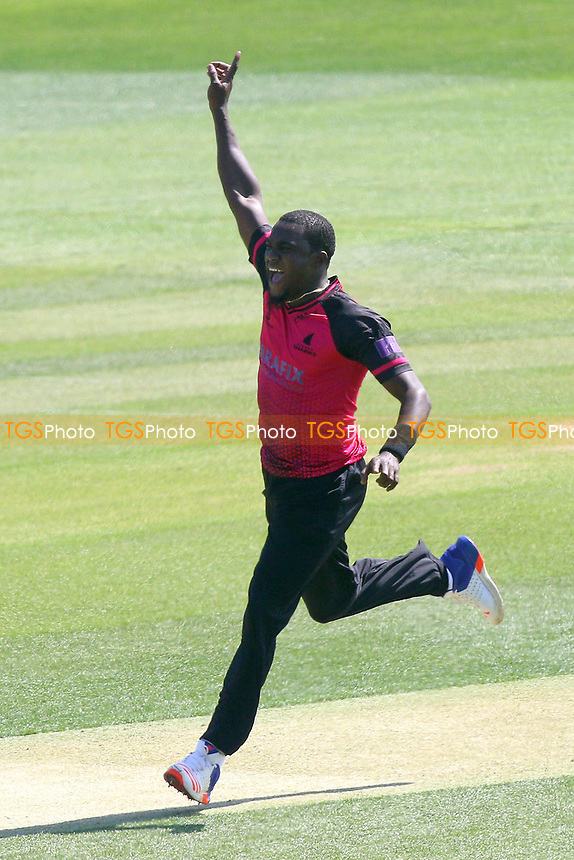 Jerome Taylor of Sussex claims the wicket of Tom Westley during Essex Eagles vs Sussex Sharks, Royal London One-Day Cup Cricket at The Cloudfm County Ground on 10th May 2017