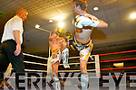 Danny Leane, Tralee and Prezemek Renk, Galway in the 1st round of three at the Champion Thai boxing night in the Mount Brandon Hotel last Saturday night, Leane went on to win the fight.