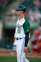 Fort Wayne TinCaps manager Anthony Contreras (10) during a Midwest League game against the Peoria Chiefs on July 17, 2019 at Parkview Field in Fort Wayne, Indiana.  Fort Wayne defeated Peoria 6-2.  (Mike Janes/Four Seam Images)